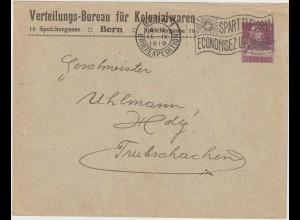 """Schweiz: Privatganzsachen-Umschlag """"Verteilungsbüro Kolonialwaren"""", 1919"""