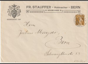"""Schweiz: Privatganzsachen-Umschlag """"Stauffer Hutmacher Berh"""", 1910"""