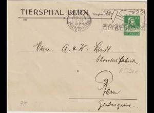 """Schweiz: Privatganzsachen-Umschlag """"Tierspital Bern"""", 1922"""