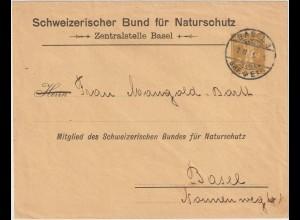 """Schweiz: Privatganzsachen-Umschlag """"Bund für Naturschutz"""", 1911"""