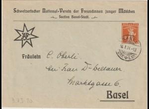"""Schweiz: Privatganzsachen-Umschlag """"Verein der Freundinnen junger Mädchen"""", 1924"""