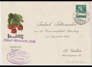 """Schweiz: Privatganzsache """"Lenzburg-Konfitüren"""", 1929"""