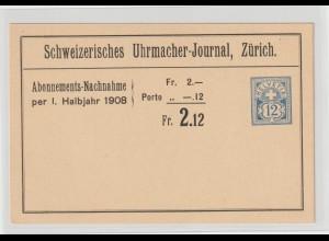 """Schweiz: Privatganzsache """"Schweizerisches Uhrmacher-Journal"""", 1908"""