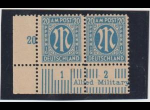 AM-Post: Probedruck der 20 Pfg. dt. Druck, Attest Schlegel BPP