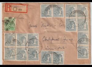 SBZ Bezirkshandst. 84 Pfg. + 10-fach auf Bedarfs-R-Brief