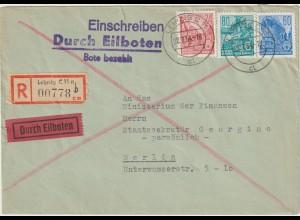 DDR 5-Jahrplan I und II auf Einschreib-Eilboten-Brief
