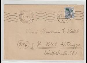 Berlin Fernbrief mit EF 20 Pfg. Grünaufdruck an Baronin Wedel