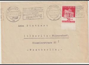 """BAZ: """"Helft Berlin"""" portorichtig auf Brief nach Berlin, Unterrand"""