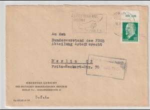 DDR: 10-Pfg. Ulbricht mit DM-Oberrand auf Brief des Obersten Gerichts