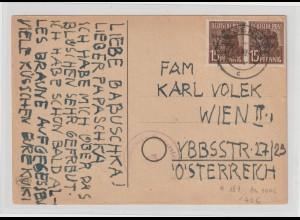Maschinenaufdruck Arb.-S. 2x 15Pfg. auf Auslands-Postkarte