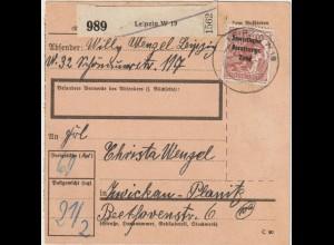 SBZ Masch.-aufdruck Arb.-Serie 60 Pfg. als EF auf Paketkarte