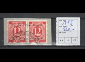 """Frankenberg 1 (Paar), mit fehlendem """"a"""", auf Briefstück ** (MNH)"""