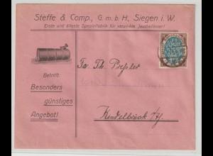 Reklameumschlag: Spezialfabrik für verzinkte Jauchefässer in Siegen