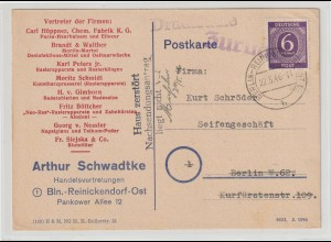 """Firmenkarte 1946 """"Zurück Haus zerstört..."""" (Berlin, Kurfürstenstraße 109)"""