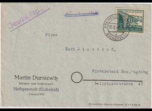Thüringen 16 Pfg. Brückenbau auf Geschäftsbrief