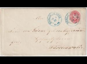 Preußen: Brief von Berlin (blauer Stpl. P.E. No. 12) nach Fürstenwalde