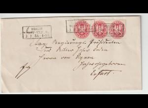 Preußen: Brief Dreierstreifen Nr. 16 von Berlin nach Erfurt