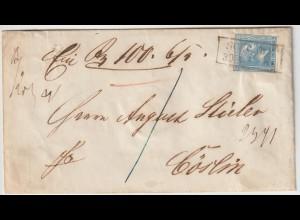 Preußen: Wertbrief von Schlawe nach Cöslin; frankiert mit Nr. 11a