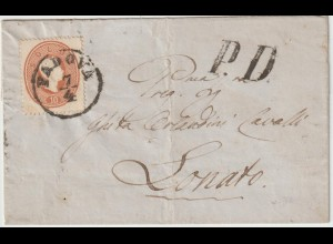 Lombardei&Venetien: Nr. 13 auf kompl. Briefhülle ab Padova