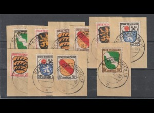 Frz. Zone Allg. Ausgabe: Wappen auf Briefstücken; Hauptwert gepr. Schlegel