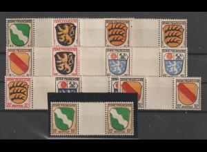 Frz. Zone Allg. Ausgabe: Wappen in Zwischenstegpaaren, **