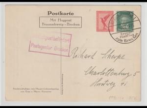 DR, Flugpost-Karte Braunschweig-Brocken Mi.-Nr. PP 92 C1, gelaufen.