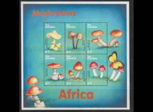 Pilze; Gambia 2001, Kleinbogen, **