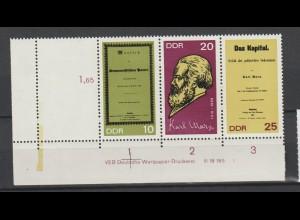 DDR Druckvermerke: 150. Geburtstag Karl Marx (1968) mit Leerfeld