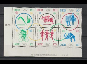DDR Druckvermerke: Olympiade 6er-Block (1964)