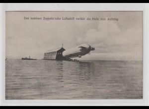 Zeppelinschiff beim Verlassen der Halle über See