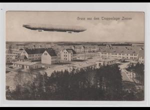 Zeppelinschiff über Truppenlager Zossen