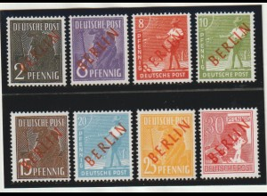 Berlin 1949, Rotaufdrucksatz (21 - 34), ** mit FA Schlegel
