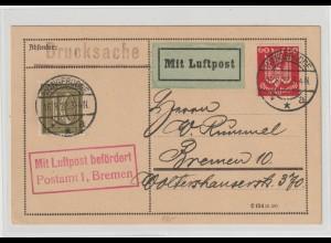 Flugpostkarte 1922 von Wangerode nach Bremen