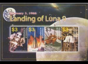 Dominica: Landing of Luna 9 Kleinbogen und Block