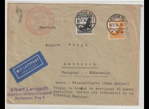 Luftpostbrief nach Paraguay, 1934