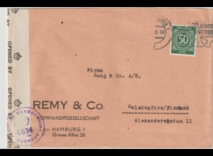 Zensurbrief 1948 nach Finnland mit EF 932
