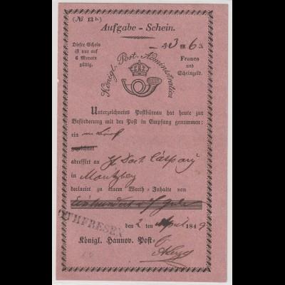 """Hannover: Aufgabeschein 1849 """"Othfresen"""""""