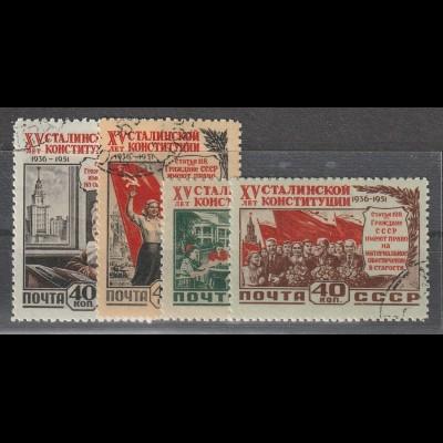 """Sowjetunion: 1627-30 (""""15 Jahre Verfassung""""), gestempelt"""