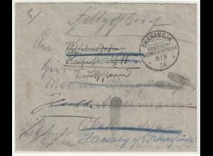 DSW: Feldpostbrief innerhalb Okahandja, dann weitergeleitet nach D.