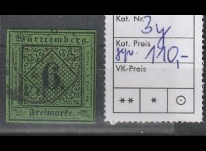 Württemberg Mi.-Nr. 3y, gestempelt, geprüft