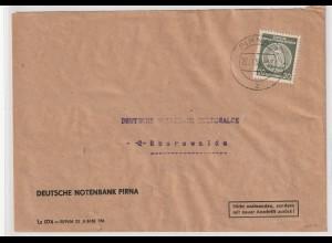 DDR-Dienstpost: Bankbrief mit EF 32 Typ I, geprüft Weigelt undMayer