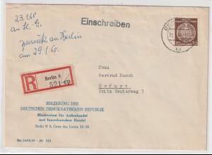 DDR-Dienstpost: Einschreibbrief mit EF Nr. 41, geprüft: