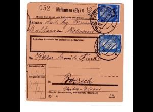 Dt. Besetzung Elsass: Paketkarte mit MiF Mi.-Nr. 10 + DR