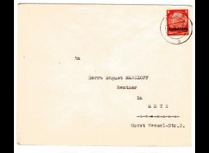 Dt. Besetzung Lothringen: Ortsbrief mit EF. Mi.-Nr. 5