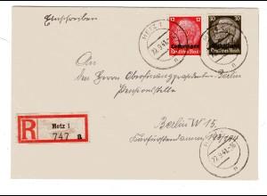 Dt. Besetzung Lothringen: R-Fernbrief (Bedarf) mit MiF. Mi.-Nr. 7 + 11