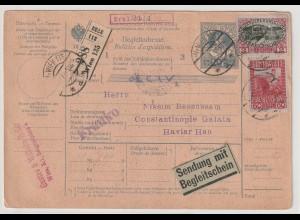 Österreich: Paketkarte 1916 in die Türkei