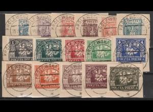 Polen/Ost-Oberschlesien: 1 - 16 kompl. auf Briefstücken