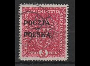 """Polen 3 Kronen Aufdruckmarke """"POCZTA/POLSKA"""", gest., geprüft"""