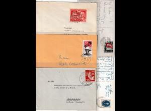 DDR: 10 Briefe/Karten mit Einzelfrankaturen, nur 50er Jahre