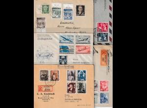 DDR: 10 Briefe/Karten mit Satz-Frankaturen, nur 50er Jahre